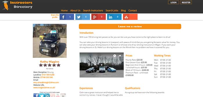 New Profile Page Layout - www.instructors-directory.co.uk